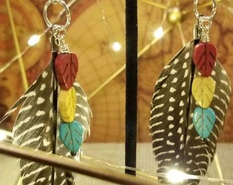 Feather and Leaf Bead Earrings