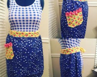 Blue bandana apron