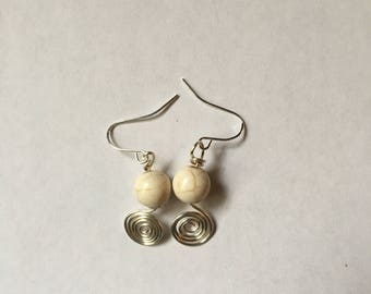 Spiral Wire Earrings with bead
