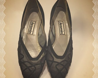 Vintage Jasmin Black Flat Shoes With See-Through Mesh