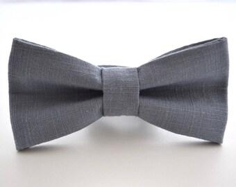 Mens Bowtie in Slate Linen, Blue Gray Bow Tie, Steel Blue Bow Tie, Gray Bow Tie, Groomsmen Bow Tie, Wedding Bowties
