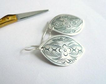 Flower petal earrings Lightweight silver dangles Romantic everyday earrings Mexican style stamped tin Sterling silver earwire Feminine gift