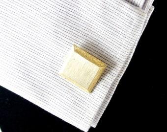 Brushed Silver Tone and Gold Tone Frame Cuff Links Vintage 60 Cuff Links Brushed Silver Cuff Links Gold Tone Edges Tuxedo Accessory