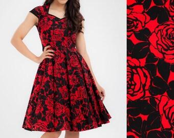Valentines Dress Pinup Dress Retro Dress Red Dress Rose Dress Rockabilly Dress Party Dress Plus Size Dress Prom Dress Swing Dress 50s Dress