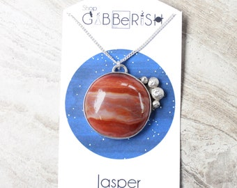 Jupiter Moons Necklace//Sterling Silver//Jasper//Galilean Moons//Science Jewelry Gift//Space Rock Collection