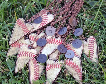 TEAM SPECIAL!  Set of 12 Baseball Heart Seam Necklaces w/ custom stamped charm - silver, copper, gold Team Mom Gift - Real Baseball - mom