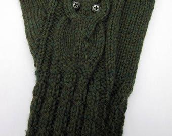Owl Fingerless Gloves \ Hand Warmers \ Green \ Wool