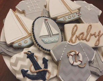 Premium Nautical Baby Shower Cookies - 1 Dozen