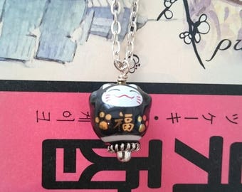 Kawaii black Maneki Neko collar