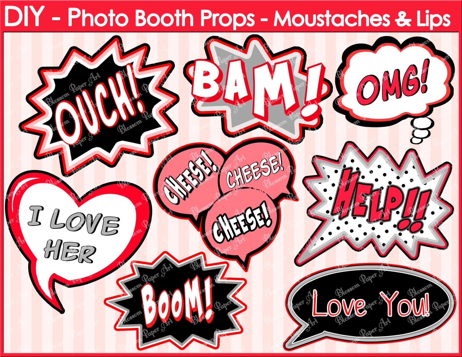 Speech bubbles printable photo booth props diy printables zoom pronofoot35fo Gallery