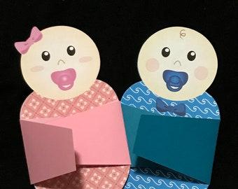 Baby Shower Invitation Swaddled Baby - BOY/GIRL 20 or 50 pcs