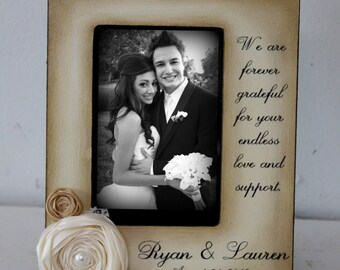 Wedding  Distressed Vintage Picture 5x7 or 4x6 Thank you Parent Photo Frame - Personalized Gift mother father bride groom in laws