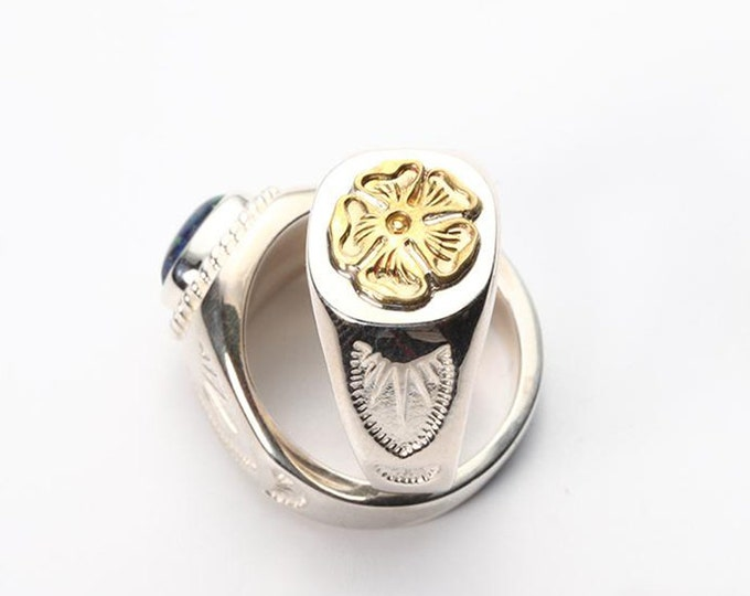 Floral Silver Ring | Gold Rose Ring | Flower Signet Ring | Native American Inspired | Index Finger Ring | Tribal Ring | Ethnic Silver Ring
