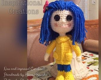 Amigurumi Coraline Doll, Crochet Coraline Doll, Amigurumi Doll, Plush Coraline Doll, Plush Doll