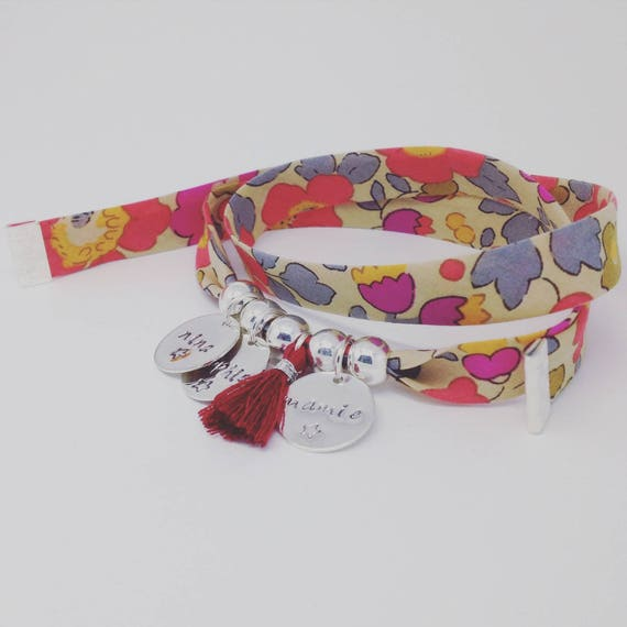 Bracelet GriGri XL Liberty with 3 custom ENGRAVINGS and tassel by Palilo
