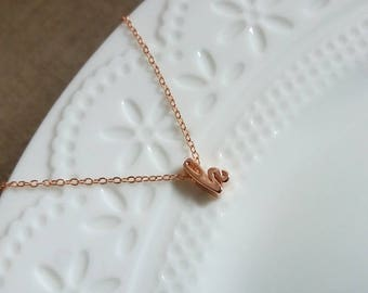 Cursive Initial Necklace. Rose Gold Initial Necklace. Rose Gold Letter Necklace. Christmas Gift. Rose Gold Handwriting Letters