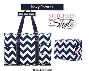 Navy Chevron Personalized Organizing Utility Work Tote Everyday Bag Embroidery Designs Available