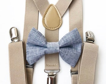 FREE DOMESTIC SHIPPING! Tan suspenders and chambray bow tie kids children wedding pictures birthday formal family photo
