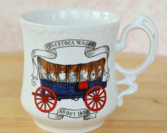 Vintage Mustache Mug with an Illustrated Conestoga Wagon
