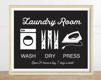 Laundry Room Sign, Wash Dry Press, Laundry Art, Black and White, Laundry Room Decor, Laundry Artwork