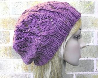 Lacy beret slouchy hat hand knit in plum tweed purple iris fig knitted lux soft warm women teen beanie