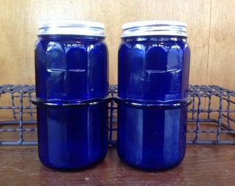 Vintage Cobalt Glass Hoosier Storage Jars
