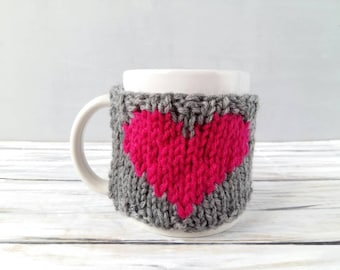 Coffee Mug Cozy - Mother's Day Gift for Her - Gift for Mom - Heart Gift - Heart Cozy - Cup Cozy - Coffee Mug Warmer - Knit Coffee Cozy
