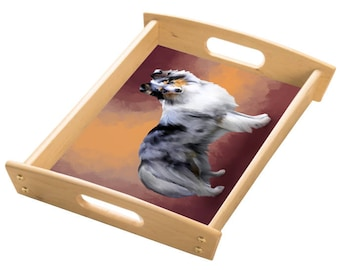 Shetland Sheepdog Wood Serving Tray with Handles Natural