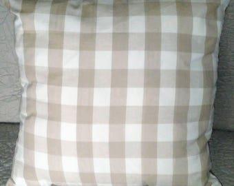 18x18 beige/ tan, white, large plaid print decorative throw pillow, *insert included