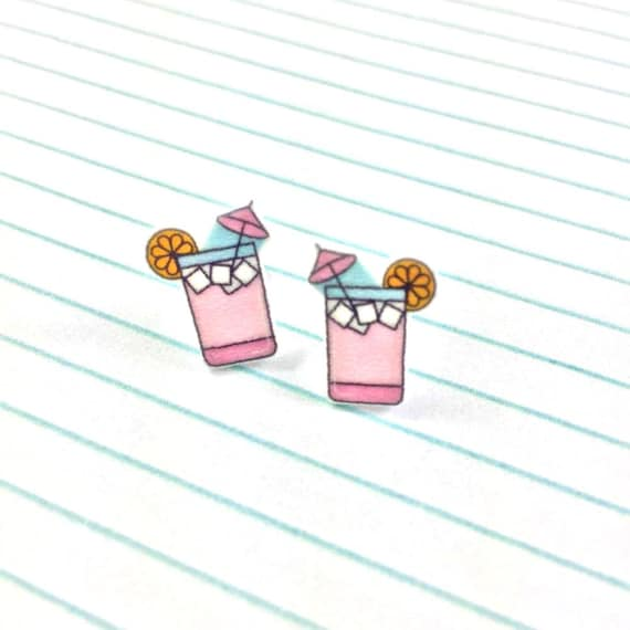 pink limonade, cocktail, earring, pink, summer drink, umbrella cocktail, print on plastic, stainless stud, handmade, les perles rares