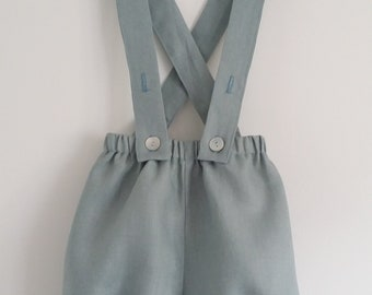 Bloomer with adjustable straps in green / gray linen for baby and child