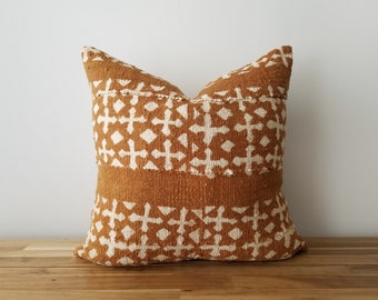 Authentic Mudcloth Pillow Cover, Burnt Sienna, Caramel Brown, Off-White, White, Cream, Coptic Cross Design