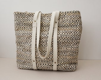 Leather-Trimmed Summer Bag /Woven Leather and Cotton Bag / Beach Bag / Unlined
