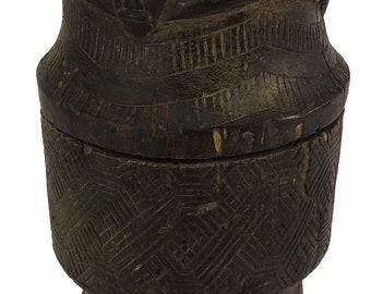 Kuba Carved Lidded Vessel Congo African Art 97081