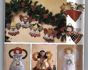 Angel Tree Topper  and Ornaments in Two Sizes / Original Simplicity Crafts Uncut Sewing Pattern 7549
