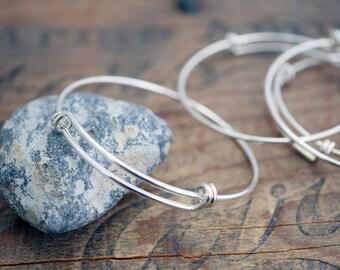 Adjustable Wire Charm Bracelet Blank Silver Bracelet Form Charm Bracelet Adjustable Bracelet (1) 900S