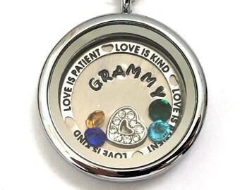 GRAMMY - Custom locket with birthstones - Love Is Patient Love Is Kind border - memory locket - gift for Grandma