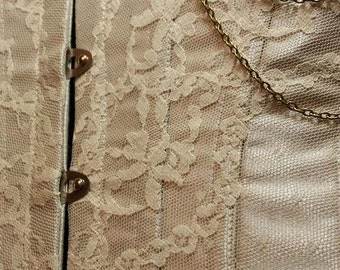 "Bridal Couture meets Steampunk Underbust with Ivory Lace Overlay ""The Mara Corset"" Ready to Wear"