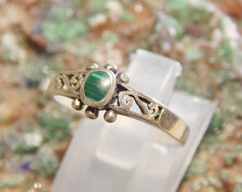 Genuine Malachite Sterling Ring