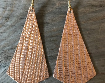 Leather Rose Gold Pyramid Earring
