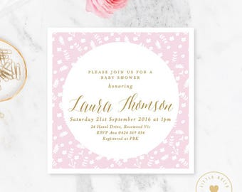 Girl Baby Shower Invitation / Floral Baby Shower Invite / Pink