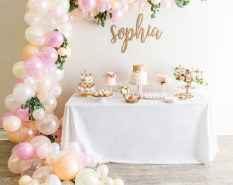 Balloon Garland Kit - Makes a Full 14 Foot Balloon Garland - Shades of Pink, Ivory, White, Blush and Peach - Bridal Shower -  Baby Shower