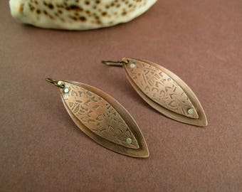 Etched double layer leaves copper earrings