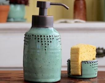 Foaming Soap Bottle Dispenser - Dish or Hand Soap Pump - Geometric Dot Design - Aqua Mist - Modern Kitchen Home Decor - MADE TO ORDER
