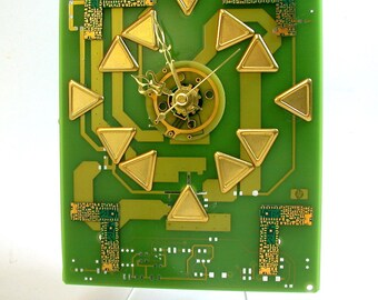 Recycled 24K CIRCUIT BOARD Desk Clock Gold Lime Green