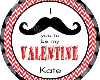 "2.5"" Round Sticker Goodie Bag- I MUSTACHE you to be my Valentine"