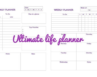 Life planner. Life organizer. Daily planner. Weekly planner. Monthly planner. Year planner. Diary. Budget. Instant download.