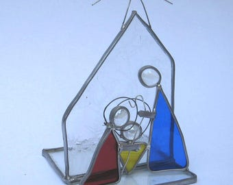 Nativity Scene Candle Holder Christmas Stained Glass with Mary, Joseph and Baby Jesus