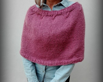 Wool hand knit soft and warm poncho in dark pink, women artistic and  fluffy  poncho