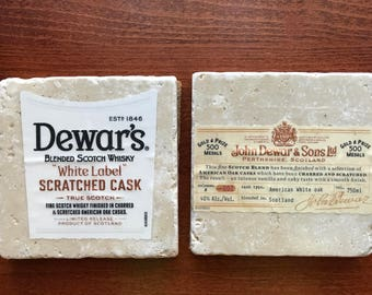 Dewar's Scotch Whiskey Stone Coasters - Dewar's White Label - Pair of 2 Natural Stone Coasters